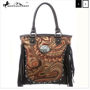 NWT • Montana west tapestry concho fringe bag